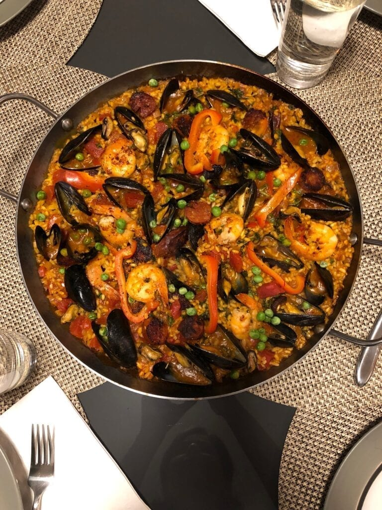 Paella with Shrimp, Clams and Mussels