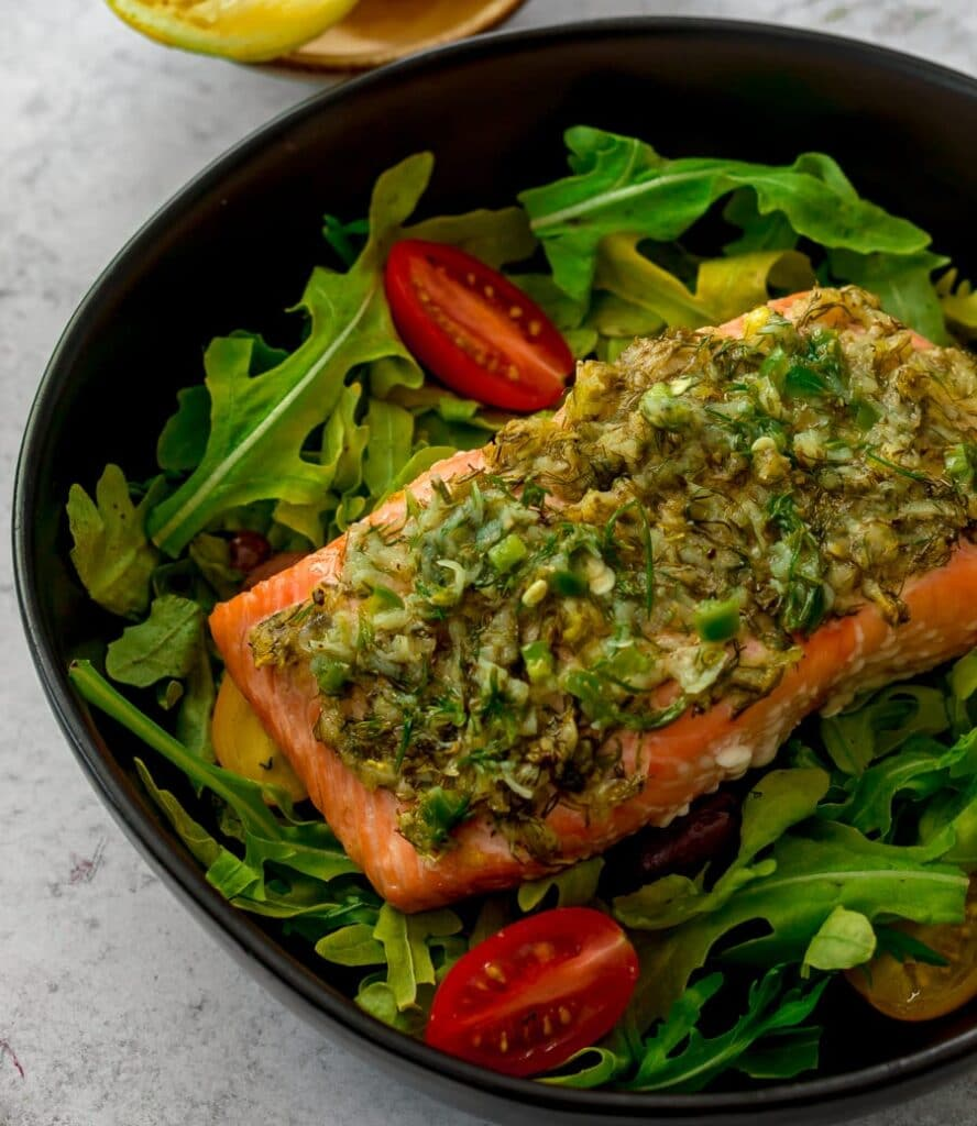salmon topped with marinade