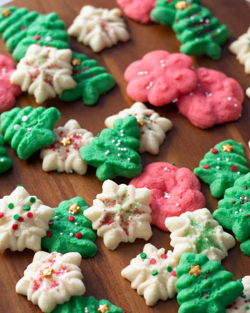holiday cookies on a platter scattered