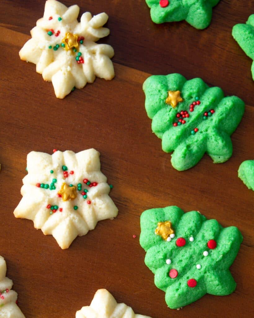 Christmas tree and snow flake cookies