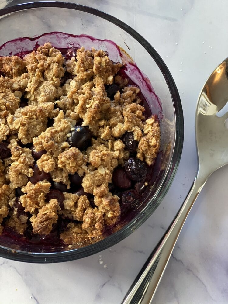 Delicious and Healthy Gluten Free Blueberry Crumble for Two