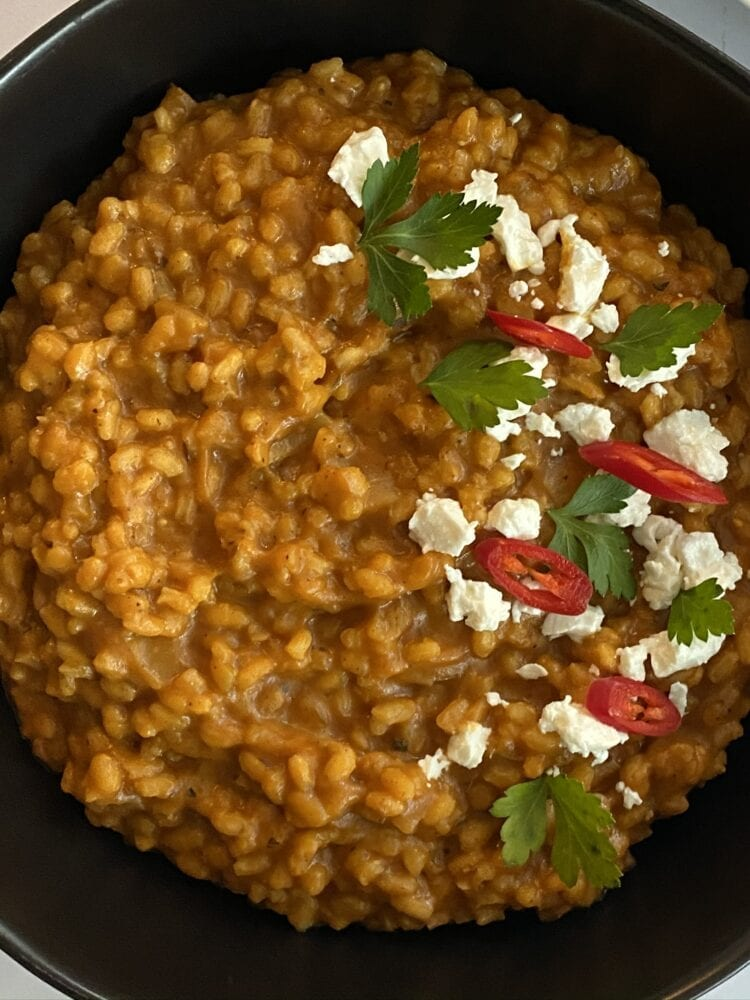 Pumpkin Risotto with Goat Cheese