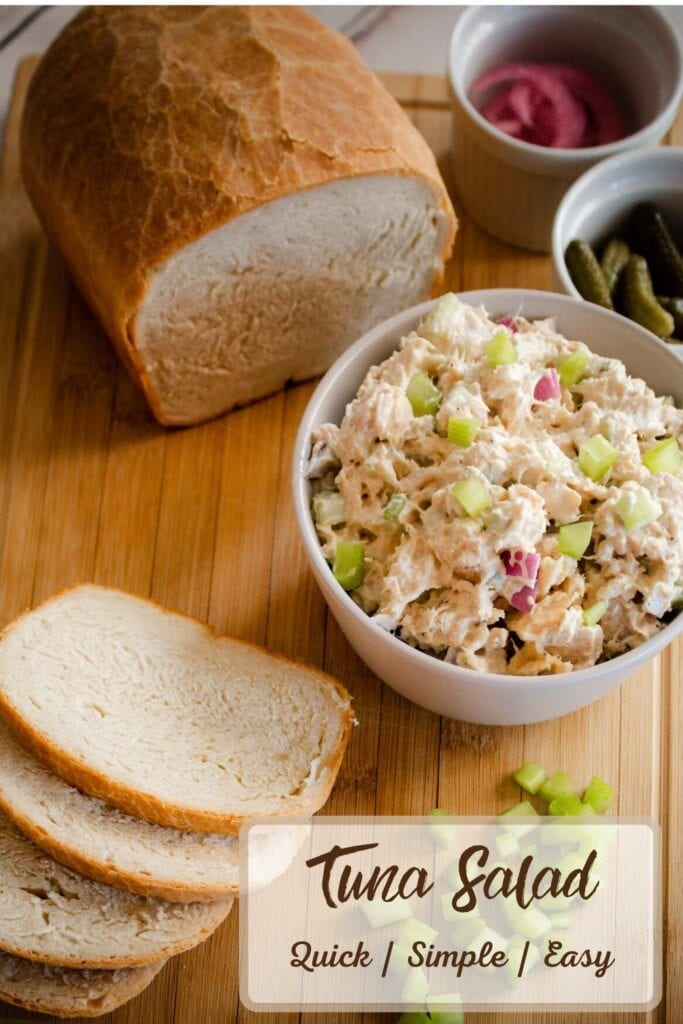 Tuna Salad in a Bowl with Sliced Bread