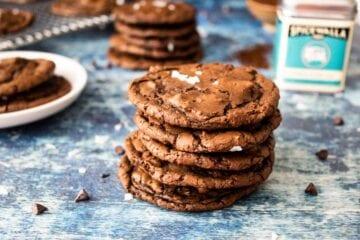 stacked cookies next to salt