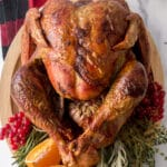 roasted turkey on a serving plate
